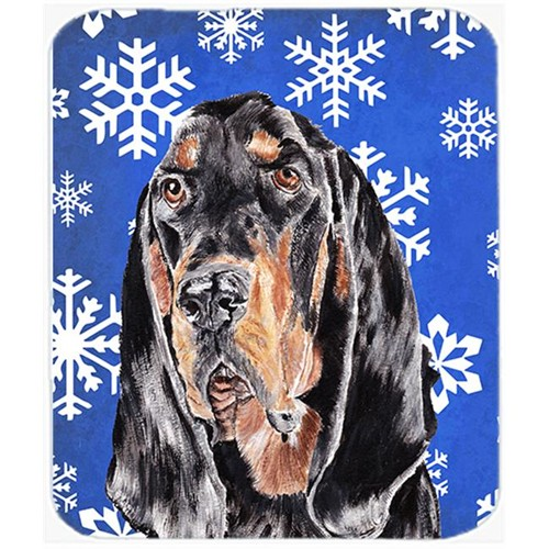 Carolines Treasures SC9595MP 7.75 x 9.25 in. Coonhound Blue Snowflake Winter Mouse Pad Hot Pad or Trivet