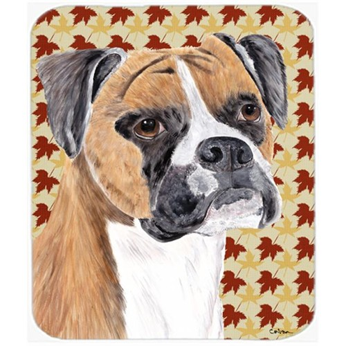 Carolines Treasures SC9230MP 9.5 x 8 in. Boxer Fall Leaves Portrait Mouse Pad Hot Pad or Trivet