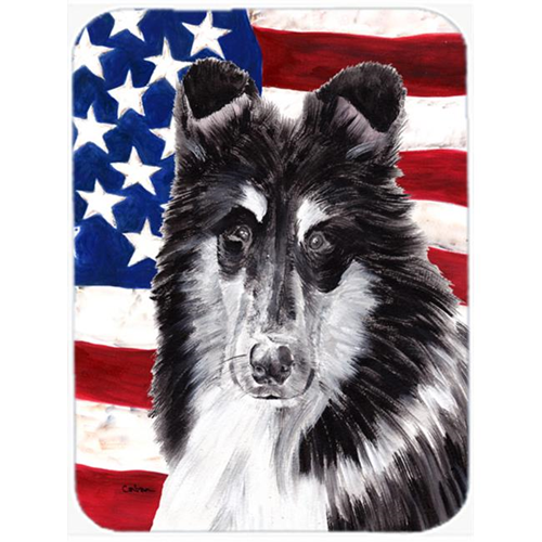 Carolines Treasures SC9630MP Black And White Collie With American Flag Usa Mouse Pad Hot Pad Or Trivet 7.75 x 9.25 In.