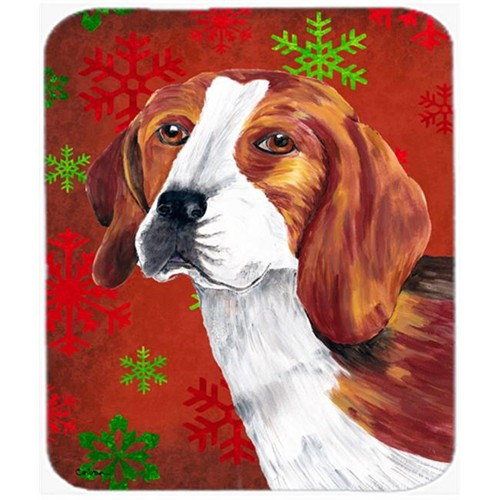 Carolines Treasures SC9409MP Beagle Red And Green Snowflakes Holiday Christmas Mouse Pad Hot Pad Or Trivet