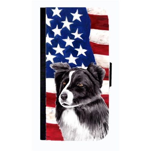 Carolines Treasures SC9009NBGALAXYS4 USA American Flag With Border Collie Cell Phonebook Case Cover For Galaxy 4S