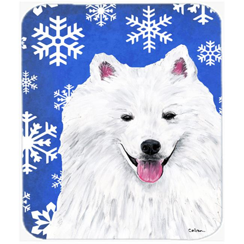 Carolines Treasures SC9379MP American Eskimo Winter Snowflakes Holiday Mouse Pad Hot Pad or Trivet