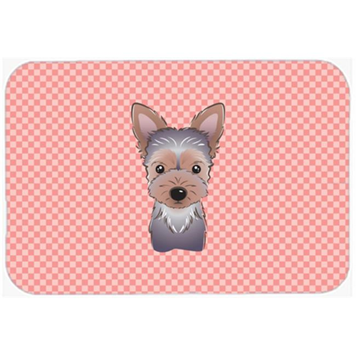 Carolines Treasures BB1232MP Checkerboard Pink Yorkie Puppy Mouse Pad Hot Pad Or Trivet 7.75 x 9.25 In.