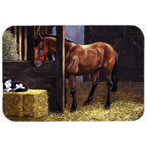 Carolines Treasures BDBA0295MP Horse in Stable with Cat Mouse Pad Hot Pad or Trivet