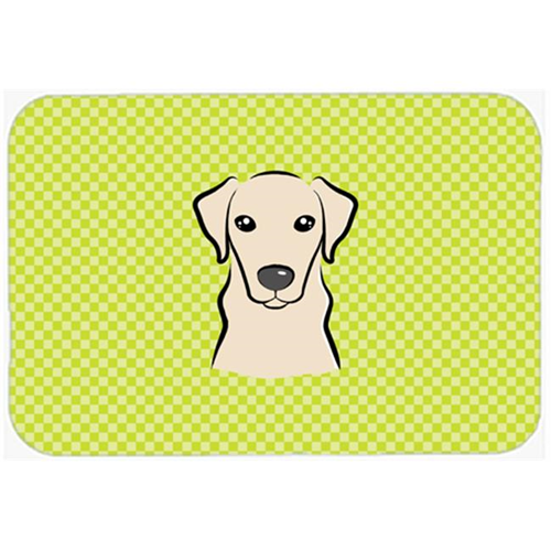 Carolines Treasures BB1284MP Checkerboard Lime Green Yellow Labrador Mouse Pad Hot Pad Or Trivet 7.75 x 9.25 In.