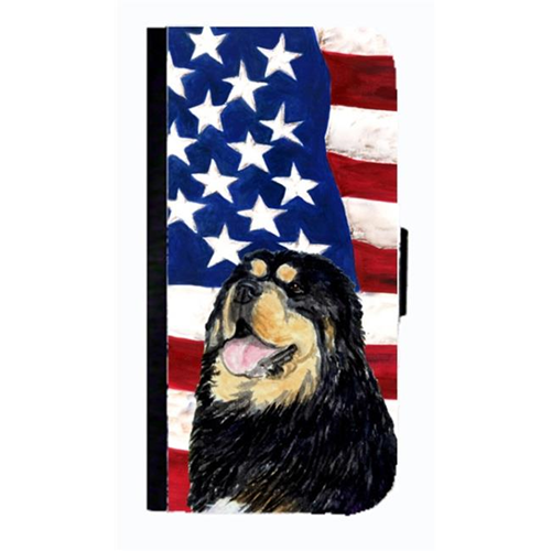 Carolines Treasures SS4039NBGALAXYS4 USA American Flag With Tibetan Mastiff Cell Phone Case Cover For Galaxy 4S