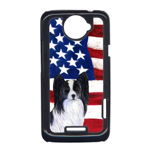 Carolines Treasures SS4032HTCONE USA American Flag With Papillon HTC One X Cell Phone Cover