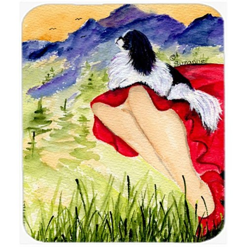 Carolines Treasures SS8524MP Lady With Her Japanese Chin Mouse Pad Hot Pad or Trivet