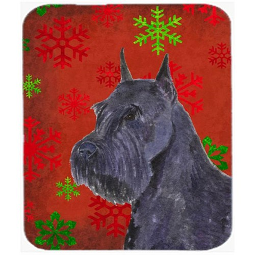Carolines Treasures SS4730MP Schnauzer Red and Green Snowflakes Christmas Mouse Pad Hot Pad or Trivet