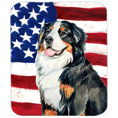 Carolines Treasures LH9003MP 9.5 x 8 in. USA American Flag with Bernese Mountain Dog Mouse Pad Hot Pad or Trivet