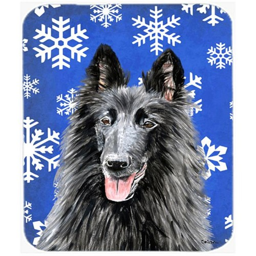 Carolines Treasures SC9398MP Belgian Sheepdog Winter Snowflakes Holiday Mouse Pad Hot Pad Or Trivet