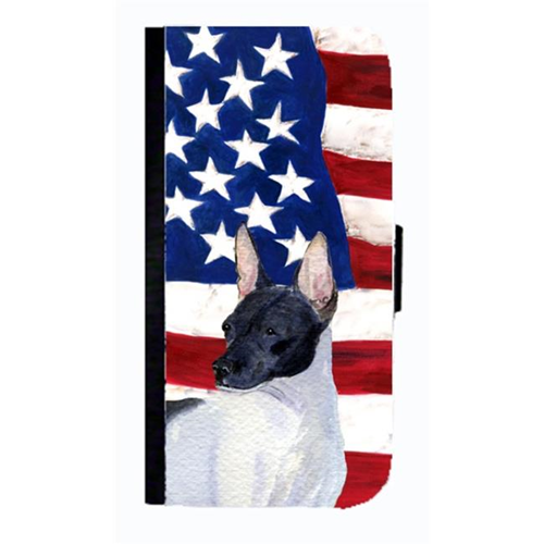 Carolines Treasures SS4054NBGALAXYS4 USA American Flag With Rat Terrier Cell Phonebook Case Cover For Galaxy 4S