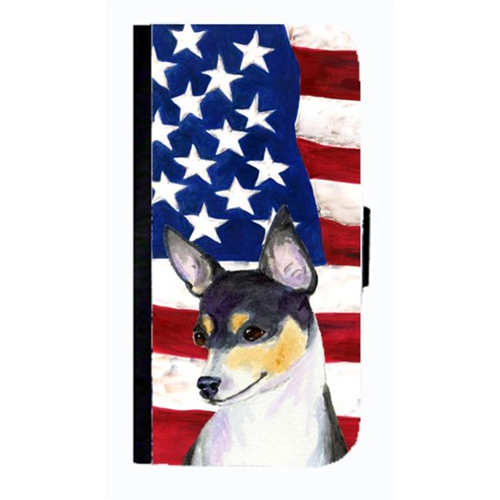 Carolines Treasures SS4002NBGALAXYS4 USA American Flag With Fox Terrier Cell Phonebook Case Cover For Galaxy 4S