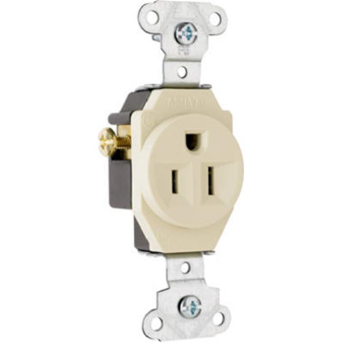 Pass & Seymour 5251ICC8 15A 125V 3 Wire Grounding Heavy Duty Single Outlet Ivory