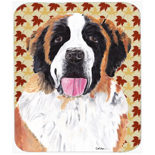 Carolines Treasures SC9222MP Saint Bernard Fall Leaves Portrait Mouse Pad Hot Pad or Trivet