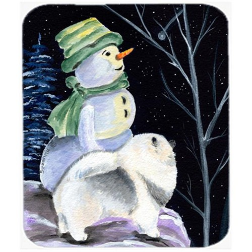 Carolines Treasures SS8557MP Snowman With Keeshond Mouse Pad Hot Pad Or Trivet