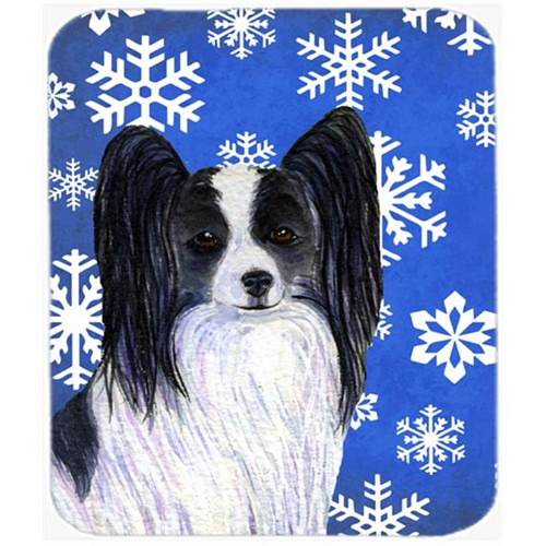Carolines Treasures SS4643MP Papillon Winter Snowflakes Holiday Mouse Pad Hot Pad or Trivet