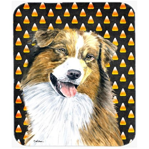 Carolines Treasures SC9195MP Australian Shepherd Candy Corn Halloween Portrait Mouse Pad Hot Pad Or Trivet