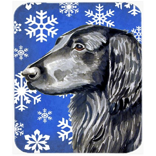 Carolines Treasures LH9276MP Flat Coated Retriever Winter Snowflakes Holiday Mouse Pad Hot Pad Or Trivet
