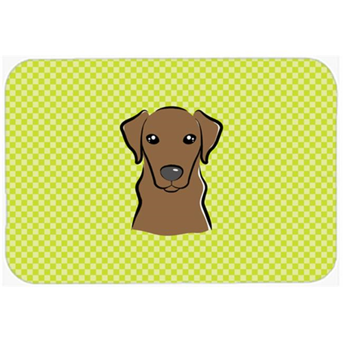Carolines Treasures BB1296MP Checkerboard Lime Green Chocolate Labrador Mouse Pad Hot Pad Or Trivet 7.75 x 9.25 In.