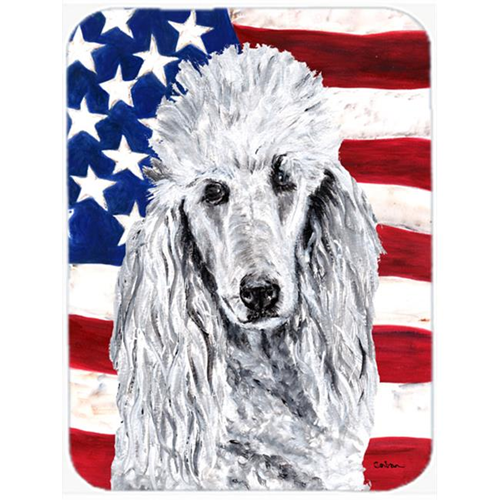 Carolines Treasures SC9631MP White Standard Poodle With American Flag Usa Mouse Pad Hot Pad Or Trivet 7.75 x 9.25 In.