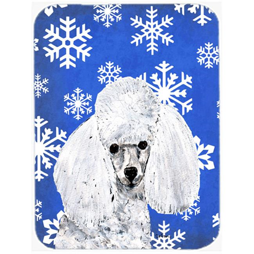Carolines Treasures SC9773MP White Toy Poodle Winter Snowflakes Mouse Pad Hot Pad Or Trivet 7.75 x 9.25 In.