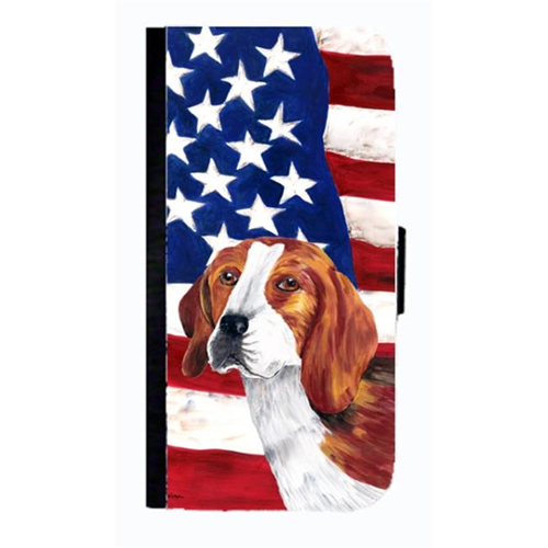 Carolines Treasures SC9005NBGALAXYS4 USA American Flag With Beagle Cell Phonebook Case Cover For Galaxy 4S
