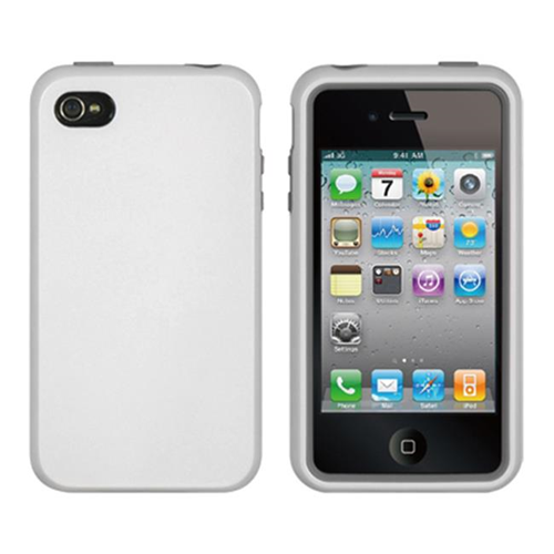 DreamWireless IP-HESCAIP4VZGY-WT iPhone 4S & iPhone 4 Compatible High-End Hybrids Gray Skin Plus White Crystal Case