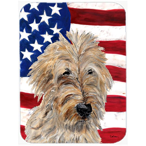 Carolines Treasures SC9643MP Golden Doodle 2 With American Flag Usa Mouse Pad Hot Pad Or Trivet 7.75 x 9.25 In.