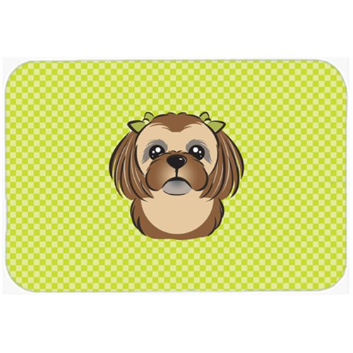 Carolines Treasures BB1311MP Checkerboard Lime Green Chocolate Brown Shih Tzu Mouse Pad Hot Pad Or Trivet 7.75 x 9.25 In.