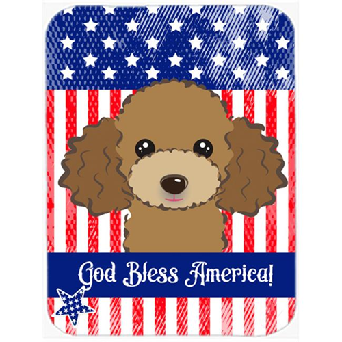 Carolines Treasures BB2186MP God Bless American Flag with Chocolate Brown Poodle Mouse Pad Hot Pad or Trivet