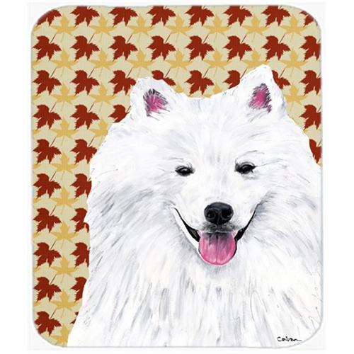 Carolines Treasures SC9218MP American Eskimo Fall Leaves Portrait Mouse Pad Hot Pad or Trivet