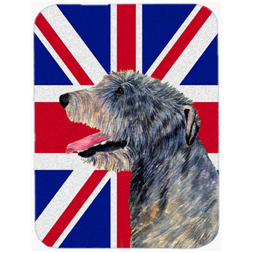 Carolines Treasures SS4948MP 7.75 x 9.25 In. Irish Wolfhound With English Union Jack British Flag Mouse Pad Hot Pad Or Trivet