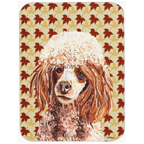 Carolines Treasures SC9675MP 7.75 x 9.25 In. Red Miniature Poodle Fall Leaves Mouse Pad Hot Pad Or Trivet