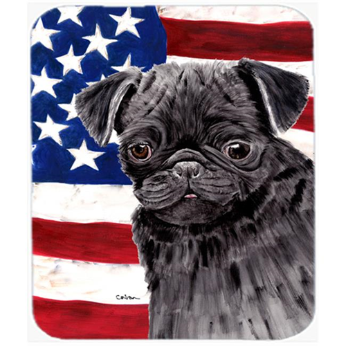 Carolines Treasures SC9011MP Usa American Flag With Pug Mouse Pad Hot Pad Or Trivet