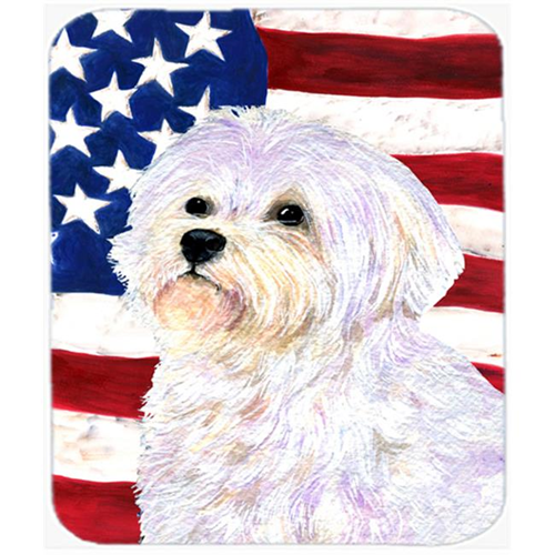 Carolines Treasures SS4043MP Usa American Flag With Maltese Mouse Pad Hot Pad Or Trivet