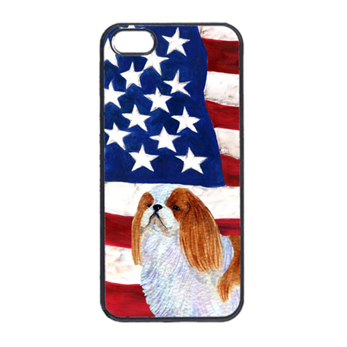 Carolines Treasures SS4034IP4 USA American Flag With English Toy Spaiel USA Iphone 4 Cover