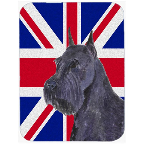 Carolines Treasures SS4965MP 7.75 x 9.25 In. Schnauzer With English Union Jack British Flag Mouse Pad Hot Pad Or Trivet