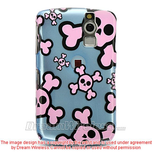 DreamWireless CABB8330BLPKSK Blackberry 8330 And 8300 Crystal Case Blue With Pink Skull