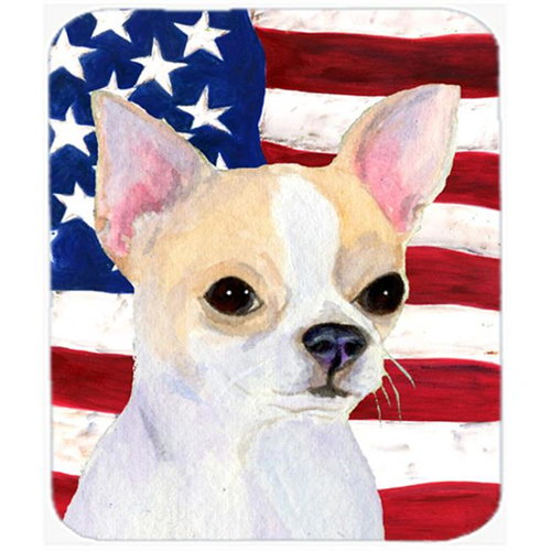 Carolines Treasures SS4230MP Usa American Flag With Chihuahua Mouse Pad Hot Pad or Trivet