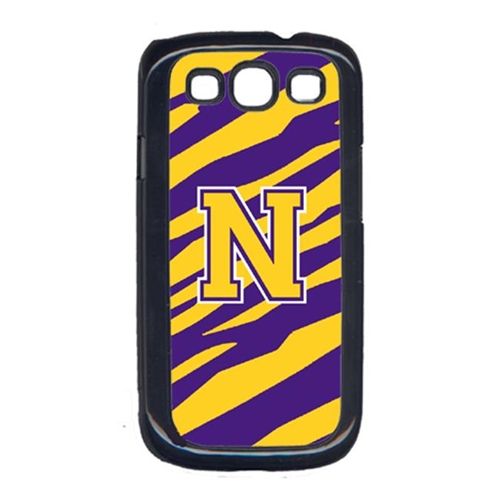 Carolines Treasures CJ1022-N-GALAXYSIII Tiger Stripe - Purple Gold Letter N Monogram Initial Galaxy S111 Cell Phone Cover