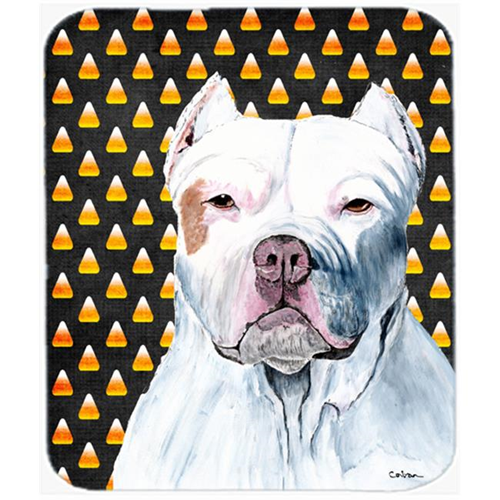 Carolines Treasures SC9166MP Pit Bull Candy Corn Halloween Portrait Mouse Pad Hot Pad Or Trivet