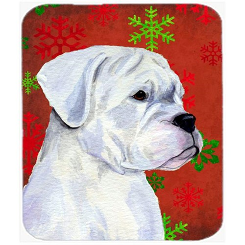 Carolines Treasures SS4716MP Boxer Red and Green Snowflakes Holiday Christmas Mouse Pad Hot Pad or Trivet