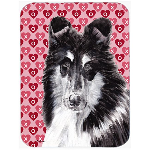 Carolines Treasures SC9702MP Black And White Collie Hearts And Love Mouse Pad Hot Pad Or Trivet 7.75 x 9.25 In.