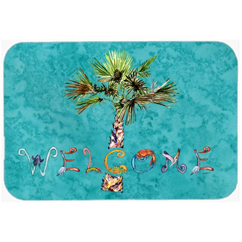 Carolines Treasures 8711MP Welcome Palm Tree On Teal Mouse Pad Hot Pad & Trivet