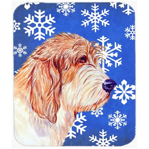 Carolines Treasures LH9307MP Petit Basset Griffon Vendeen Winter Snowflakes Mouse Pad Hot Pad Or Trivet - 7.75 x 9.25 In.