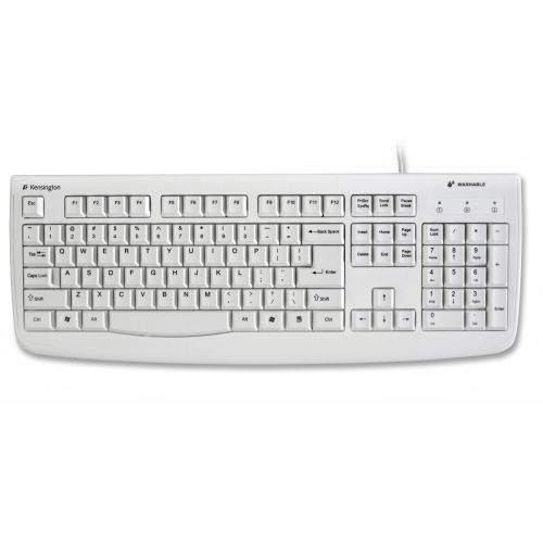 Kensington 64406 Pro Fit USB/PS2 Washable Keyboard- 104 Keys- White