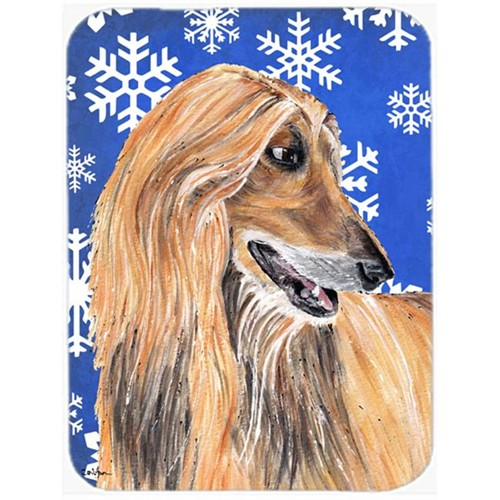 Carolines Treasures SC9499MP 7.75 x 9.25 In. Afghan Hound Winter Snowflakes Holiday Mouse Pad Hot Pad Or Trivet