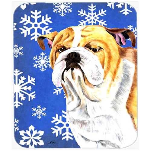 Carolines Treasures SC9374MP Bulldog English Winter Snowflakes Holiday Mouse Pad Hot Pad or Trivet