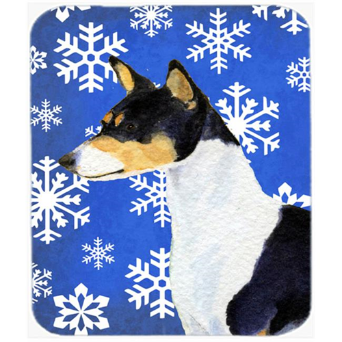 Carolines Treasures SS4652MP Basenji Winter Snowflakes Holiday Mouse Pad Hot Pad or Trivet